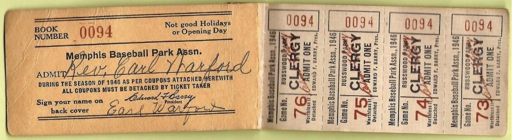 1946 Memphis Chicks Clergy Pass and Book Cover