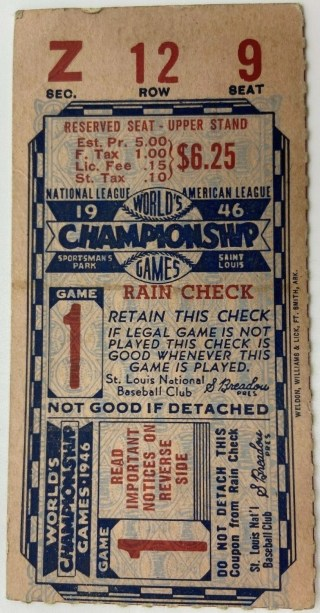 1946 World Series Game 1 Ticket Stub Boston Red Sox at St. Louis Cardinals 109