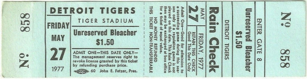 1977 Mark Fidrych complete game unused ticket