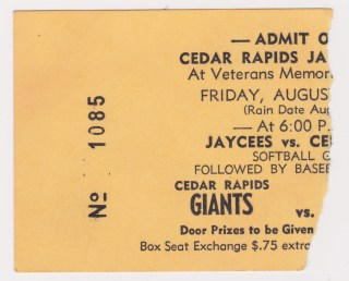 1978 Cedar Rapids Giants ticket stub