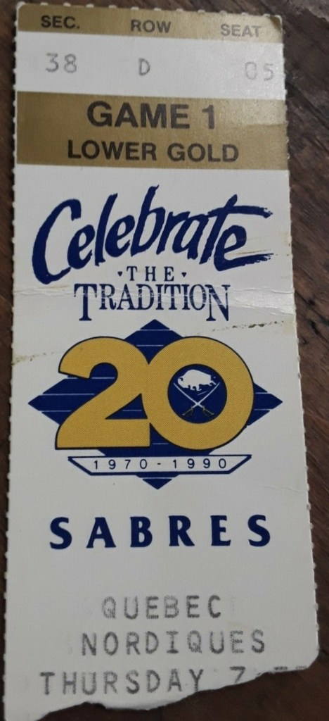 1989 Buffalo Sabres ticket stub vs Quebec