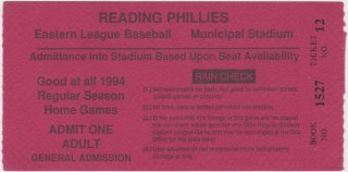 1994 Reading Phillies general admission ticket1994 Reading Phillies general admission ticket