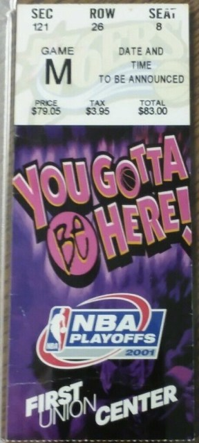 2001 NBA Finals Game 5 ticket stub Lakers 76ers 390
