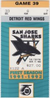1992 San Jose Sharks ticket stub vs Detroit