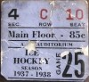 1937 NHL New York Americans vs Toronto ticket stub