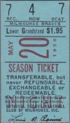 1958 Sandy Koufax Win 10 Ticket Stub
