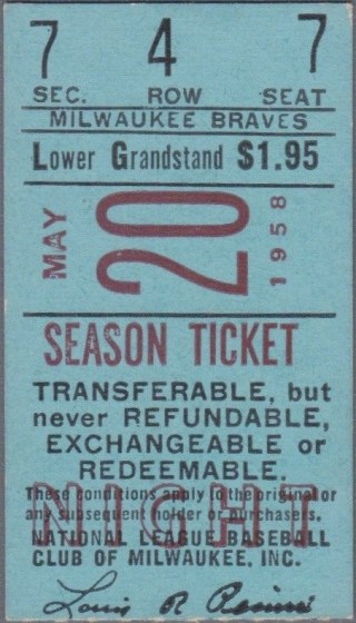 1958 Sandy Koufax Win 10 Ticket Stub 104