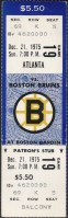 1975 Boston Bruins unused ticket vs Atlanta