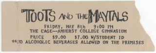 1981 Toots and the Maytals ticket stub Amherst 3.00