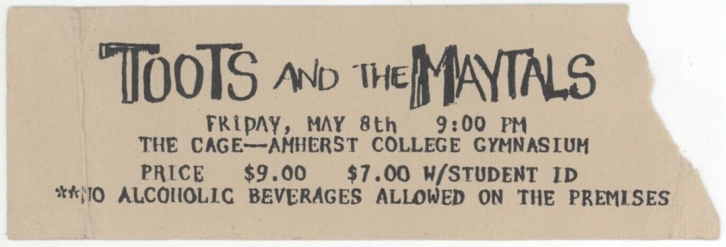 1981 Toots and the Maytals ticket stub Amherst