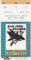 1991 San Jose Sharks home debut ticket stub vs Canucks