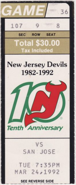 1992 New Jersey Devils ticket stub vs San Jose