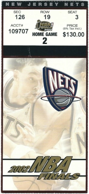 2002 NBA Finals Game 4 ticket stub Lakers Nets 100