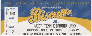 2009 Montgomery Biscuits ticket vs Diamond Jaxx