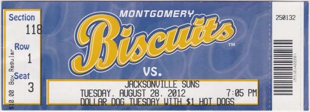 2012 Montgomery Biscuits ticket vs Jacksonville Suns