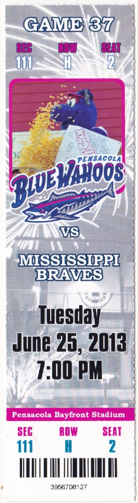 2013 Pensacola Blue Wahoos ticket stub vs Mississippi