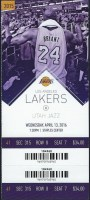 2016 Kobe Bryant Final Game ticket stub