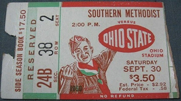 1950 NCAAF Ohio State ticket stub vs SMU
