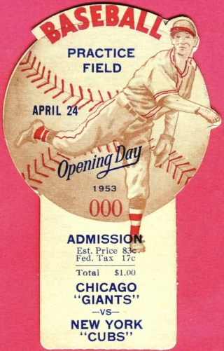 1953 California League Opening Day ticket stub 125