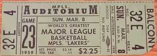 1959 Minneapolis Lakers ticket vs St. Louis Hawks 60
