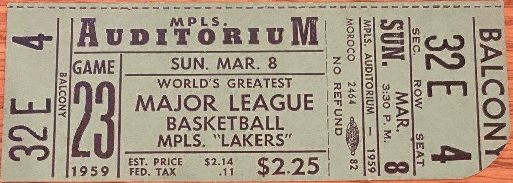 1959 Minneapolis Lakers ticket vs St. Louis Hawks
