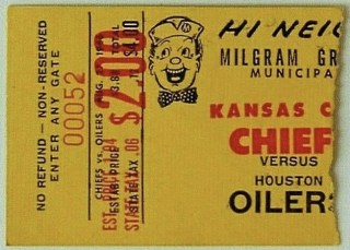 1966 Kansas City Chiefs ticket stub vs Houston