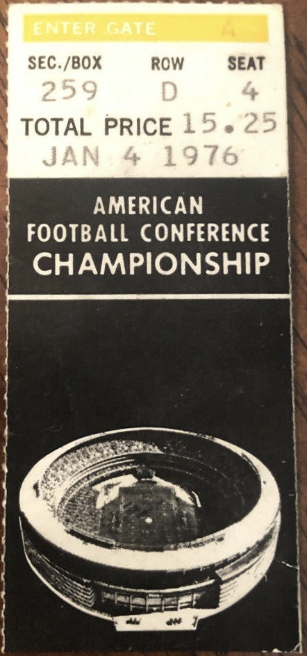 1976 AFC Championship Game ticket stub Pittsburgh Oakland
