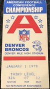 1978 AFC Championship Game ticket stub Oakland Denver