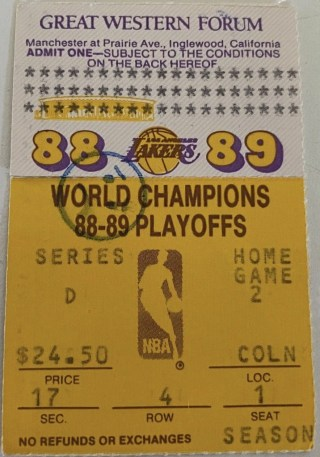 1989 NBA Finals ticket stub Kareem's Final Game 250