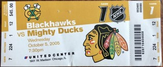 2005 Chicago Blackhawks ticket stub vs Anaheim 90