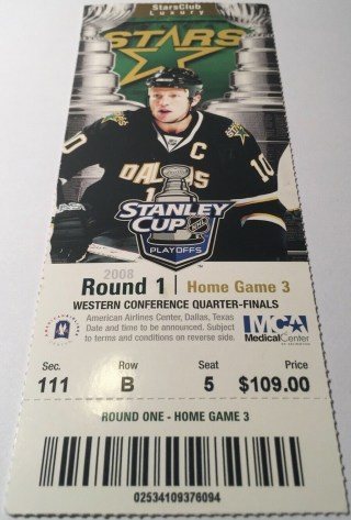 2008 Dallas Stars Playoffs ticket stub vs Anaheim 3.90