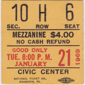 1968 AHL Baltimore Clippers ticket stub vs Hershey