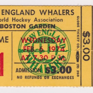 1974 WHA New England Whalers unused ticket vs Quebec