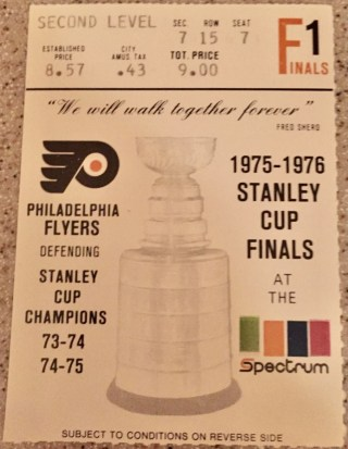 1976 Stanley Cup Final ticket stub Canadiens Flyers 22.75