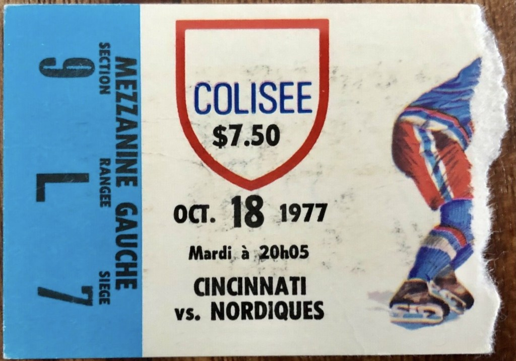 1977 WHA Quebec Nordiques ticket stub vs Cincinnati