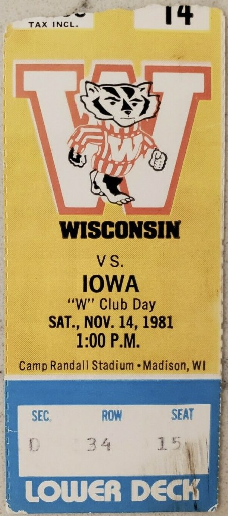 1981 NCAAF Wisconsin ticket stub vs Iowa