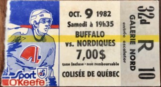 1982 Quebec Nordiques ticket stub vs Buffalo 5