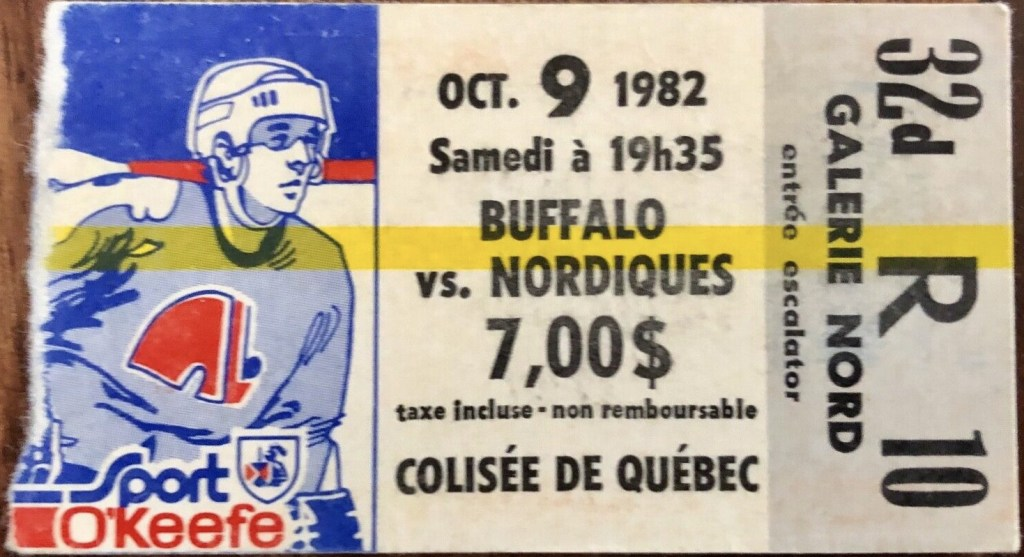 1982 Quebec Nordiques ticket stub vs Buffalo