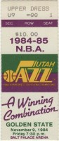 1984 Utah Jazz ticket stub vs Golden State