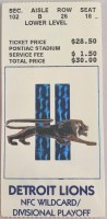 1992 NFC Divisional Game ticket stub Cowboys Lions
