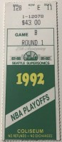 1992 Seattle Supersonics playoffs ticket stub vs Warriors