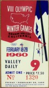 1960 Olympic Games ticket stub Squaw Valley