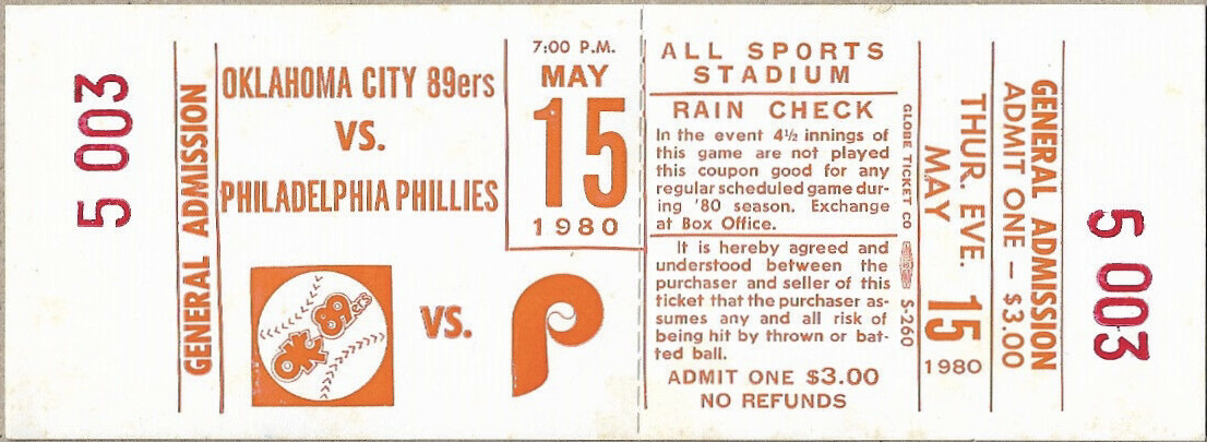 1980 Oklahoma City 89ers ticket stub vs MLB Phillies