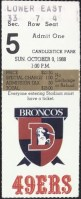 1988 San Francisco 49ers ticket stub vs Broncos