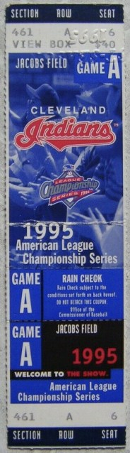 1995 ALCS Game 1 ticket stub Mariners Indians 8