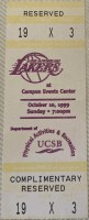 1999 Lakers ticket stub vs UCSB