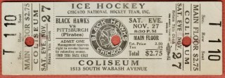 1926 Chicago Black Hawks ticket stub vs Pittsburgh Pirates 255