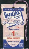 1940 Indianapolis 500 Press Pass Entry