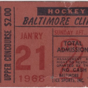 1963 AHL Baltimore Clippers ticket stub Jan 21