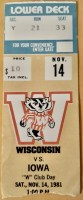 1981 NCAAF Wisconsin Badgers ticket stub vs Iowa